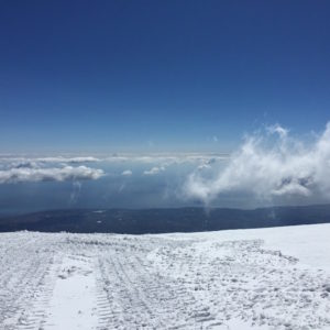 Snow on Etna Volcano
