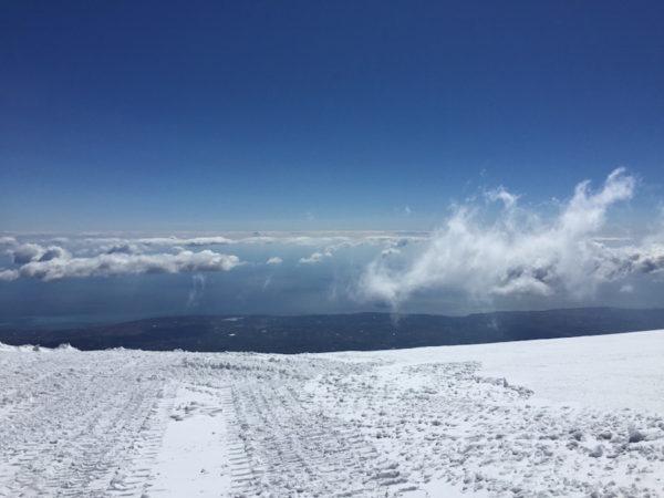 Snow on Etna Volcano